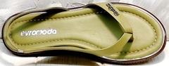 Красивые босоножки шлепанцы женские кожаные Evromoda 454-411 Olive.