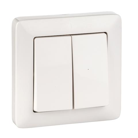 Выключатель двухклавишный 6 А 250 В. Цвет Белый. Schneider Electric(Шнайдер электрик). Hit(Хит). VS56-234-B