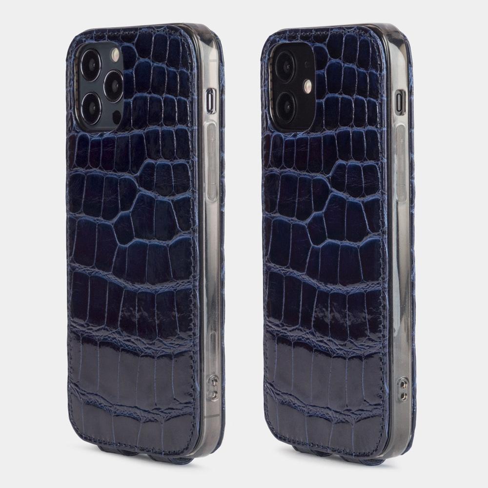 Special order: Чехол для iPhone 12/12Pro из натуральной кожи аллигатора, синего цвета