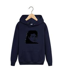 Толстовка темно-синяя с капюшоном (худи, кенгуру) и принтом Майкл Джексон (Michael Jackson) 002