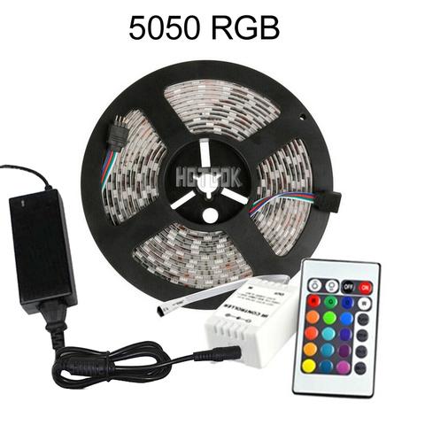 Светодиодная RGB лента 5050 комплект с пультом управления, контроллером и блоком питания (5 метров) ширина (5 мм)