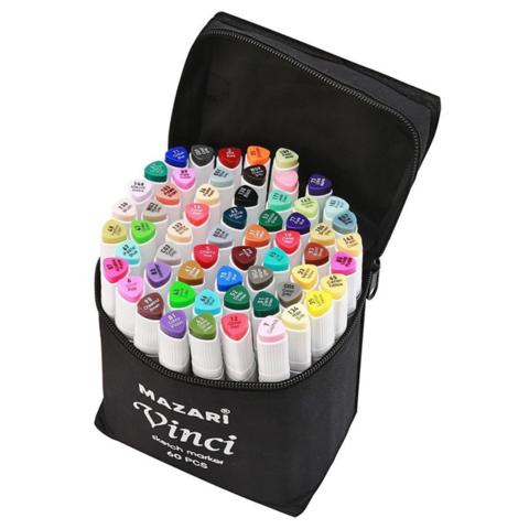Mazari Vinci набор маркеров для скетчинга 60 шт двусторонние спиртовые пуля/долото 1.0-6.2 мм