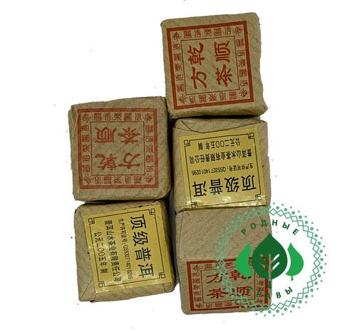Элитный чай Пуэр прессованный  Мини квадратик Шу Пуэр по 10гр.