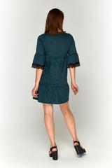 Зеленое замшевое платье-фонарик Lolly
