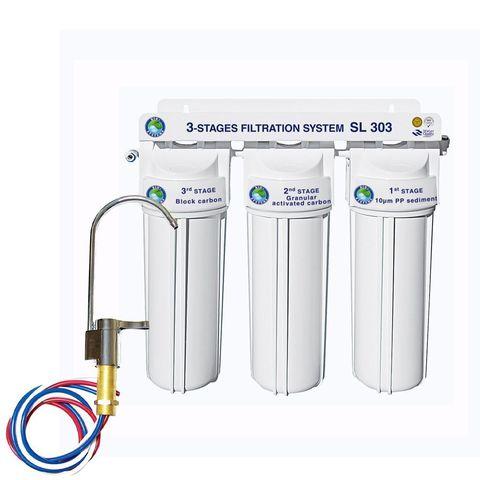 Система 3-х ступенчатой очистки Bio+ systems SL303-NEW + кран ZB-69 АНТИПОТОП