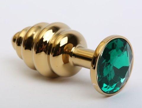 Золотистая рифлёная пробка с зеленым стразом - 8,2 см.