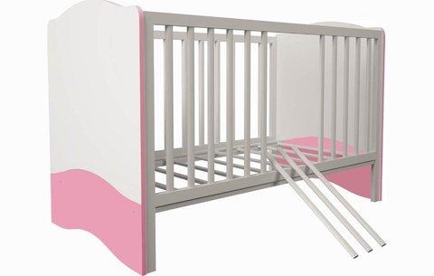 Кроватка детская Polini kids Simple 140х70 белый-роза
