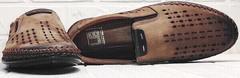 Модные мужские туфли мокасины с дырочками мужской кэжуал стиль Luciano Bellini 91737-S-307 Coffee.