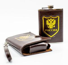 Фляжка Россия, 270 мл, в стильном чехле, фото 5