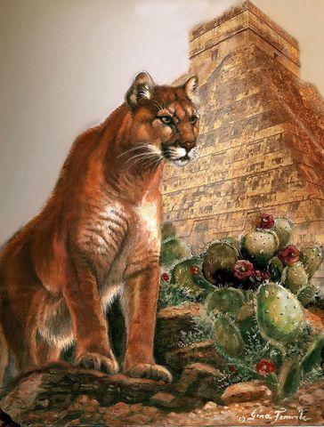 Картина раскраска по номерам 40x50 Пума и кактусы
