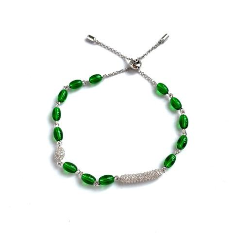 35694 - Браслет Bon Bon из серебра с зелёным кварцем в стиле APM MONACO