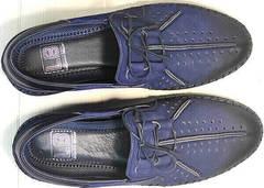Смарт кэжуал кожаные мужские туфли мокасины с перфорацией Luciano Bellini 91268-S-321 Black Blue.