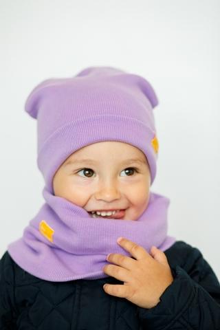 Детская шапка хлопковая в рубчик сиреневая