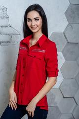 Діва. Молодіжна сорочка з великими кишенями. Червоний