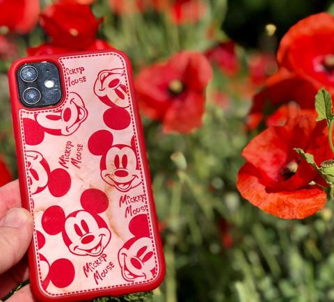 Чехол iPhone X/XS Mickey Mouse Leather vintage /red/
