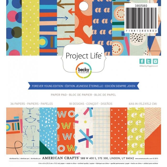 Набор односторонней бумаги Forever young edition для Project Life 15x15 см