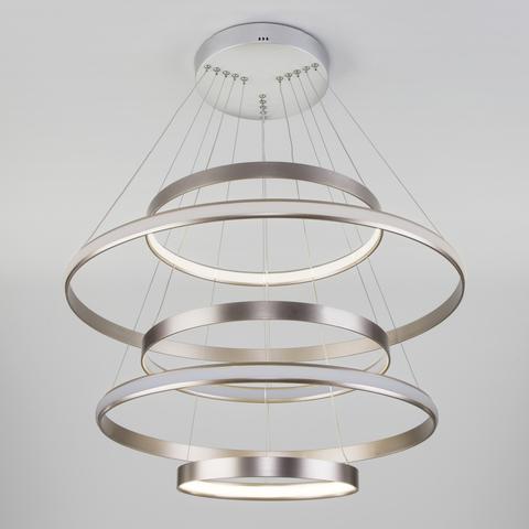 Подвесной светодиодный светильник с пультом управления 90179/5 сатин-никель