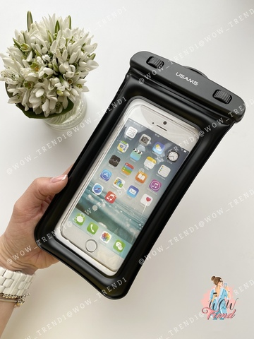 Чехол водонепроницаемый Usams для телефона до 6.0 /black/ YD007