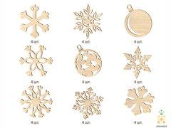 Набор новогодних украшений №2 (Lemmo) - Деревянные елочные игрушки