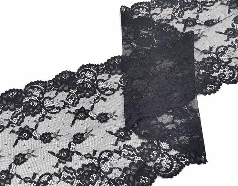 Эластичное кружево, ОПТ, 22 см, черное, м, (Арт: EK-2272), м
