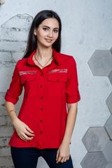 Дива. Молодежная  рубашка с большими карманами. Красный