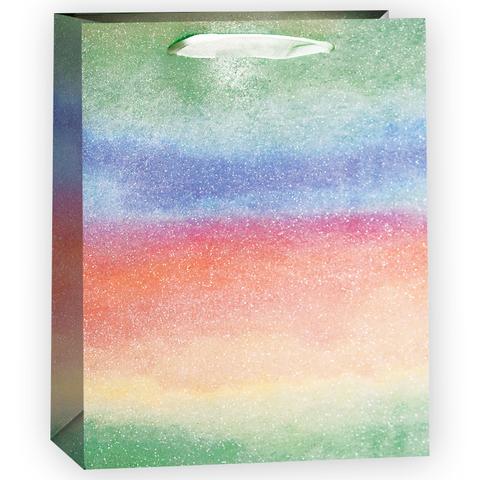 Пакет подарочный, Светлая радуга, Салатовый, Градиент, с блестками, 23*18*10 см, 1 шт.