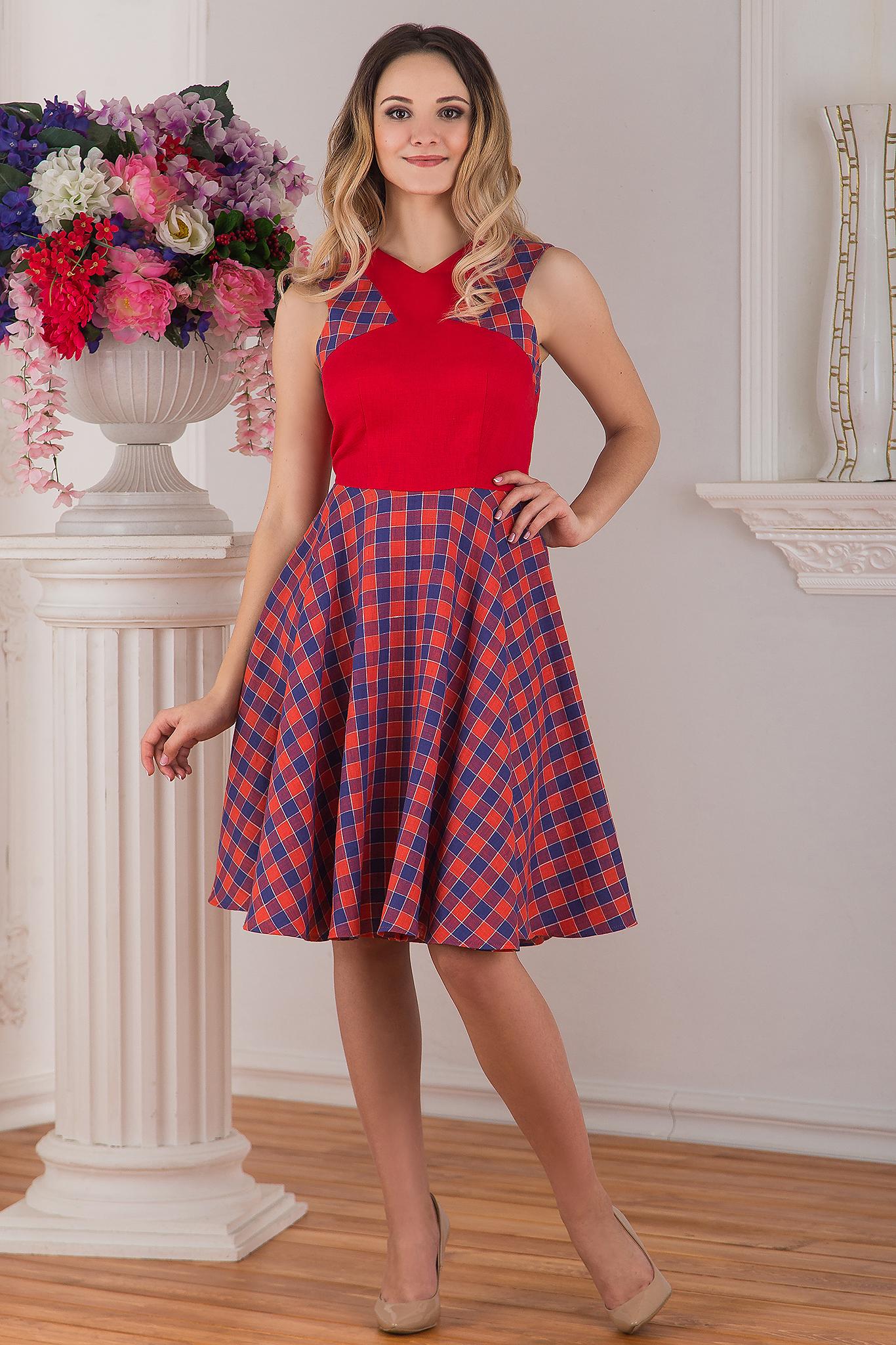 Современное льняное платье красное Раздолье от Иванка
