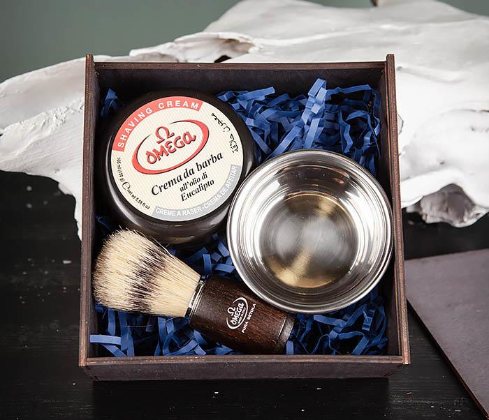 PSET102 Подарочный набор из помазка, чаши и мыла для бритья