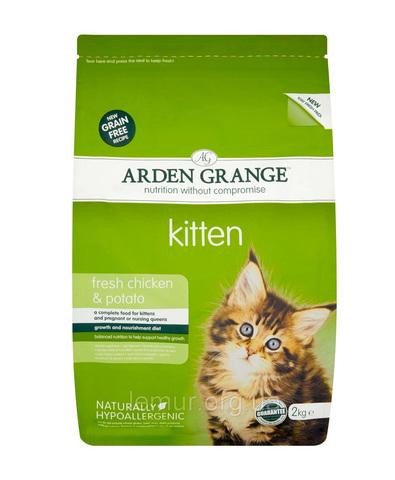 Arden Grange Kitten корм беззерновой для котят с Курицей и картофелем 2 кг