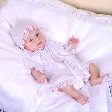 Папитто. Крестильный набор универсальный с рубашкой с капюшоном и пеленкой, белый, рост 62-68