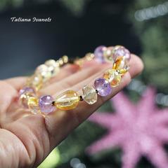 Ожерелье из цитрина и аметиста