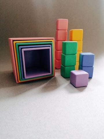 Коробочки пастельные 5 в 1, кубики пастельные (15 шт)