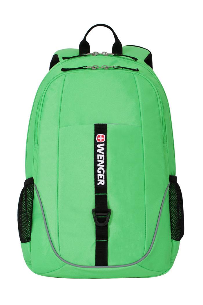 Рюкзак WENGER со светоотражающими элементами, цвет салатовый/чёрный, 26 л., 46х33х16,5 см., 2 отделения (6639662408)