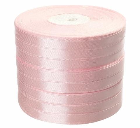 Лента атласная (размер: 10 мм х 50 ярд) Цвет: светло-розовая