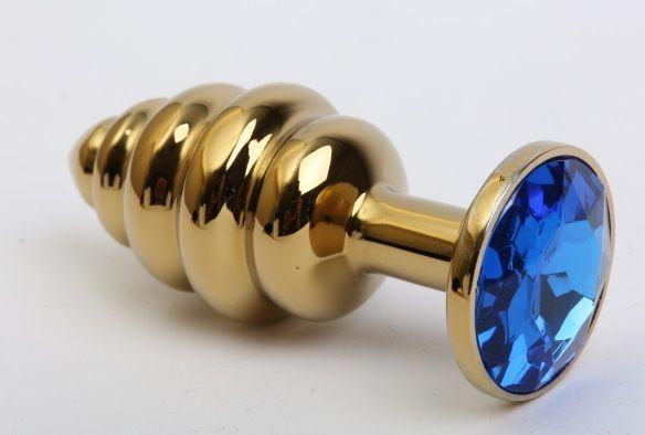 Золотистая рифлёная пробка с синим стразом - 8,2 см.