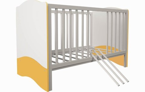 Кроватка детская Polini kids Simple 140х70 белый-солнечный