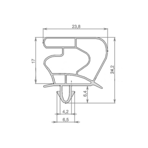 Уплотнитель для холодильной витрины Liebherr FKv 502 размер 570*400 мм по пазу.(023)