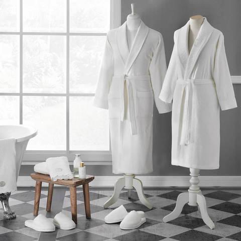 Семейный набор ANTOINETTE кремовый  халат с полотенцем и тапочками Tivolyo Home (Турция)