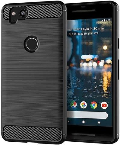 Чехол на Google Pixel2 цвет Black (черный), серия Carbon от Caseport