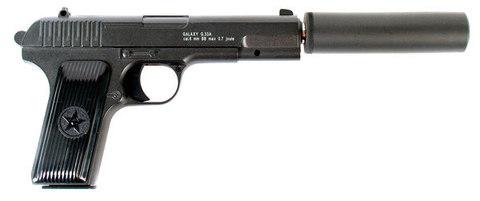 Cтрайкбольный пистолет Galaxy G.33A ТТ с имитацией глушителя, металлический, пружинный