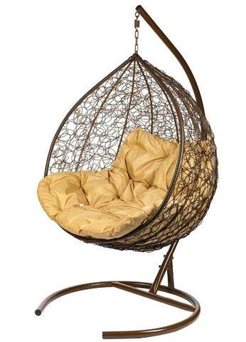 Двойное подвесное кресло Liverpool Twin Brown бежевая подушка