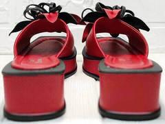 Шлепанцы босоножки с квадратным каблуком Derem 042-921-02 Red Black.