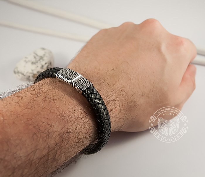 BL428-1 Стильный мужской браслет из натуральной кожи и стали (21 см) фото 05