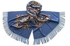 Палантин женский синий с геральдическим узором (5307 PAL 4)