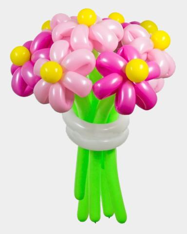 Ромашки из воздушных шаров ярко-розовые