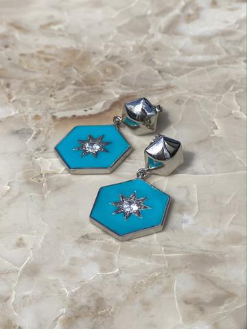 Серьги Сириус из серебра с голубой эмалью