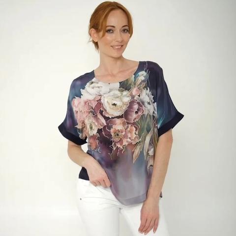 Шелковая блузка батик Пионы