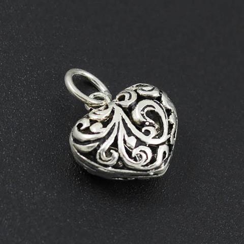 Подвеска Сердце резное 14 мм серебро 925 1 шт