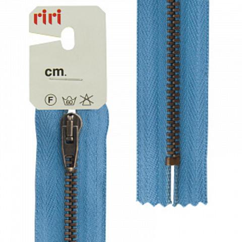 Молния джинсовая №4, Riri, 18см, сине голубой