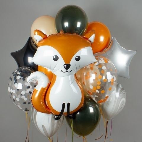Фонтан из воздушных шаров Лисенок